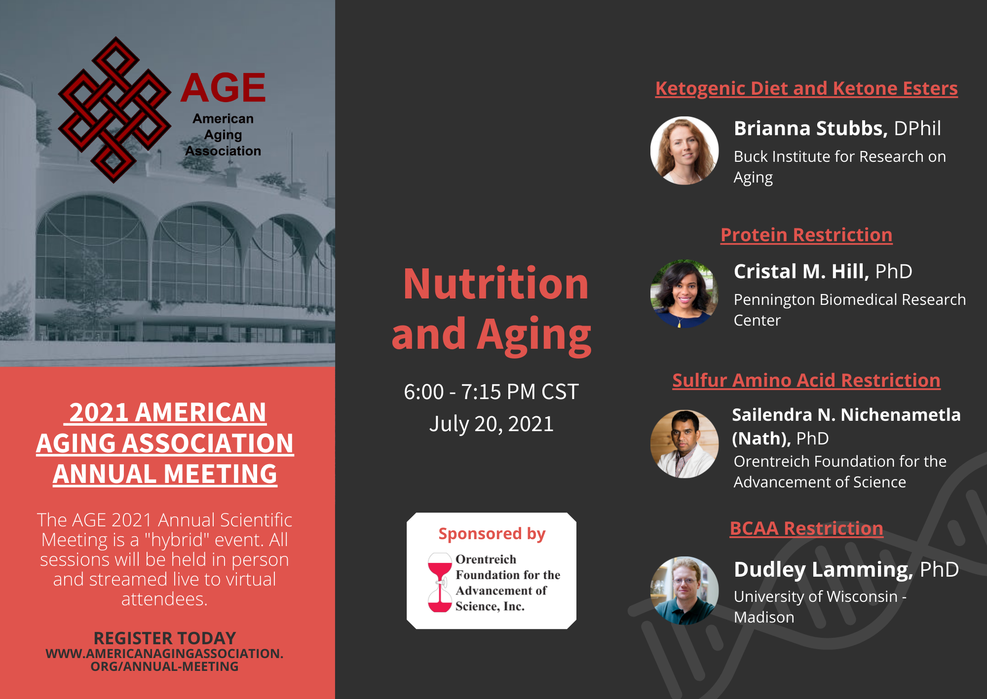 AGE 2021 Annual Scientific Meeting: Nutrition and Aging